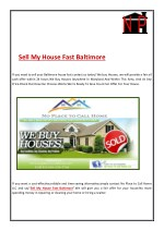 Steps To Sell My House Fast In Baltimore