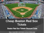 Boston Red Sox Tickets Discount Coupon