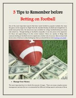 3 Tips to Remember before Betting on Football