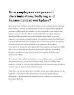 How employers can prevent discrimination, bullying and harassment at workplace?