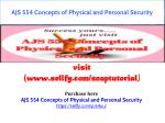 AJS 554 Concepts of Physical and Personal Security