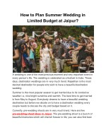 How to Plan Summer Wedding in Limited Budget at Jaipur?
