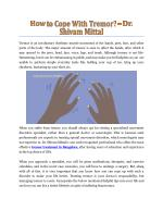 How To Cope With Tremor? - Dr. Shivam Mittal
