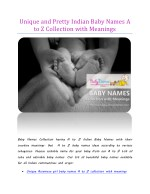 Unique and Pretty Indian Baby Names A to Z Collection with Meanings