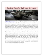 Fastest Courier Delivery Services