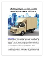 Ashok leyland gets nod from board to merge light commercial vehicle arm