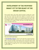 Development of the proposed Smart City in the heart of the Indian Capital