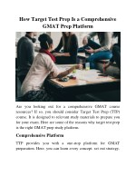 How Target Test Prep Is a Comprehensive GMAT Prep Platform