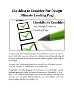 Checklist to Consider For Design Ultimate Landing Page