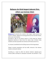 Reliance Jio Third-largest Telecom Firm, Others Up Revenue Share