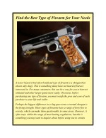 Find the Best Type of Firearm for Your Needs