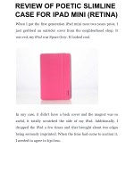 REVIEW OF POETIC SLIMLINE CASE FOR IPAD MINI (RETINA)