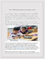 Why is STEM Education Important in Elementary Schools?