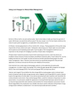 Using Level Switches for Waste Water Management
