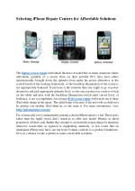 Selecting i phone repair centers for affordable solutions