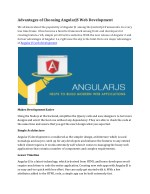 Advantages of Choosing AngularJS Web Development