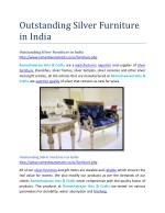 Outstanding Silver Furniture in India