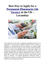 Best Way to Apply for a Permanent Pharmacist Job Vacancy in the UK – Locumbay