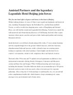 Amistad Partners and the legendary Legendale Hotel Beijing join forces