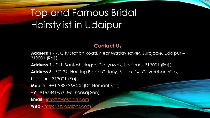 top and famous bridal hairstylist in udaipur n.
