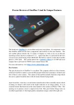 Precise Reviews Of OnePlus 5 And Its Unique Features