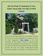 Get the Pride of Ownership of Your Dream House with the Help of Peter Dolecki