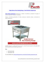 Single Burner Gas Cooking Range Cooking equipments : Parth Kitchen Equipments
