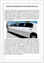 Evolution of Alexandria Limo Rental Services