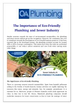 The Importance of Eco-Friendly Plumbing and Sewer Industry