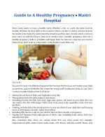 Guide To A Healthy Pregnancy - Maitri Hospital