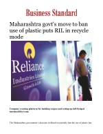 Maharashtra govt's move to ban use of plastic puts RIL in recycle mode