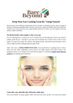 Keep Your Face Looking Great By 'Going Natural'