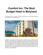 Comfort Inn - The Best Budget Hotel in Maryland