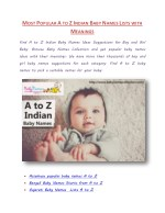 Popular A to Z Unique Indian Baby Names Lists with Meanings