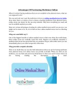 Advantages Of Purchasing Medicines Online