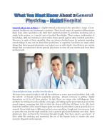 What You Must Know About A General Physician - Maitri Hospital