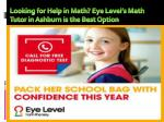 Looking for Help in Math? Eye Level's Math Tutor in Ashburn is the Best Option