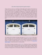 Three Most Common Type Of Garage Door Openers