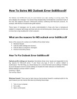 How To Solve MS Outlook Error 0x800ccc0f