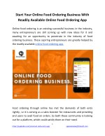 Start Your Online Food Ordering Business With Readily Available Online Food Ordering App
