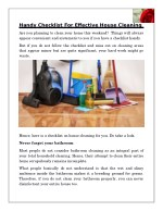 Handy Checklist For Effective House Cleaning
