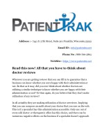 Read this now! All that you have to think about doctor reviews