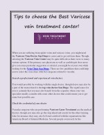 Tips to choose the Best Varicose vein treatment center