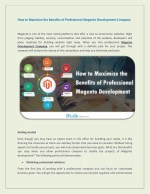 How to Maximize the Benefits of Professional Magento Development Company