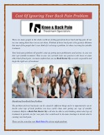 Cost Of Ignoring Your Back Pain Problem
