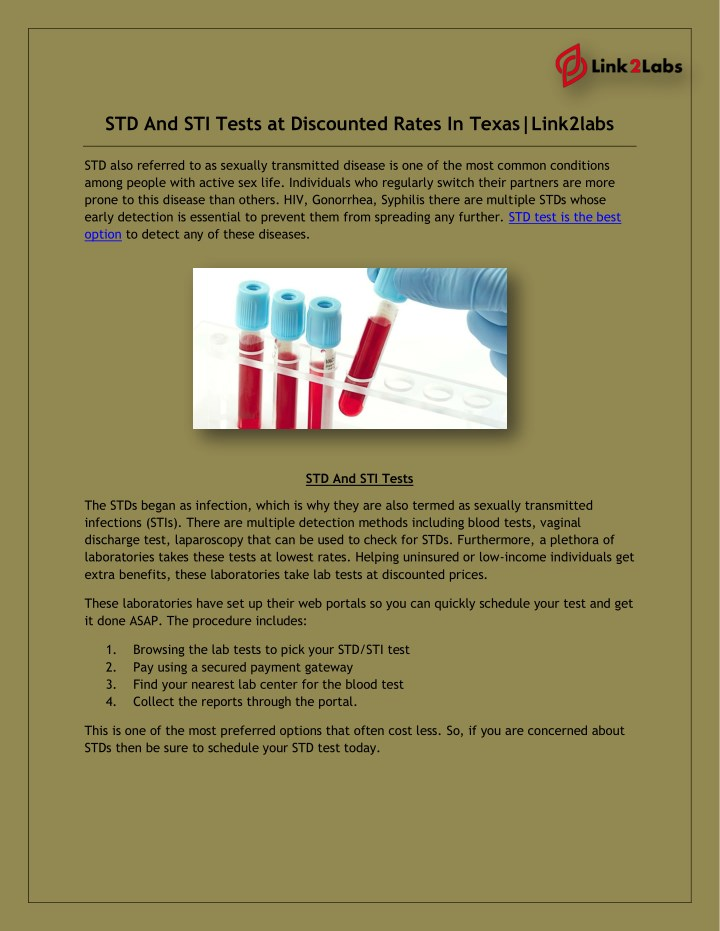 Can blood test detect sexually transmitted diseases