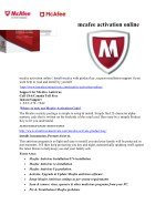 activation of mcafee online
