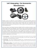 Lets keep going - Car Accessories Manufacturers