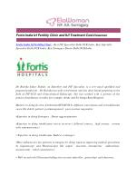 Fortis India Ivf Fertility Clinic and IUI Treatment Cost
