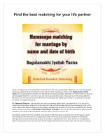 Find the Best Matching for Your Life Partner